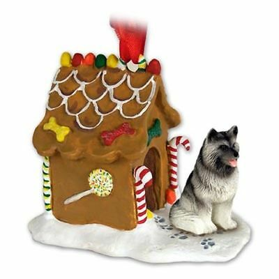 Keeshond Dog Ginger Bread House Christmas ORNAMENT