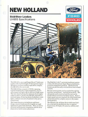 1994 Ford New Holland Lx 665 Skid Loader Brochure