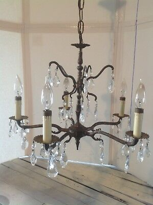 Vintage Mid Century Hollywood Regency Brass Crystal Chandelier Made In Spain