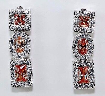 Padparadscha Sapphire & Topaz 925 Solid Genuine Sterling Silver Earrings Jewelry