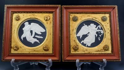 Pair C1910 French Parian Porcelain Relief Plaques Night & Day after Thorvaldsen
