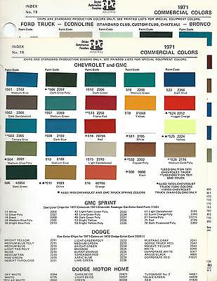 1971 Truck Paint Chips Chevrolet Gmc Ford International Mack Jeep Dupont Ppg