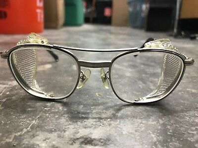 Vintage American Optical AO Gold Safety Glasses FUL VUE Side Shield STEAM PUNK