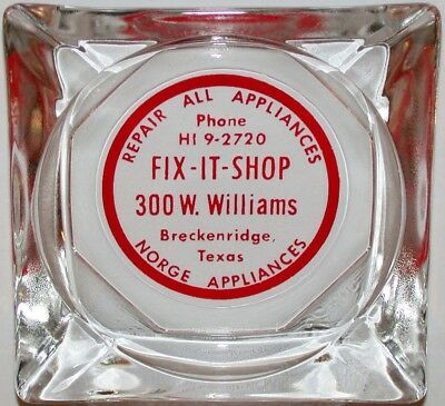 Vintage glass ashtray FIX IT SHOP Breckenridge Texas Norge Appliances n-mint