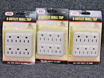 Nos! Lot Of 3 Six Outlet Wall Tap Grounding Adapter, No. 26205, Ivory