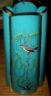 """French Victorian Opaline Glass Cerulean Blue Enameled Vase Exotic Bird Trees 10"""""""