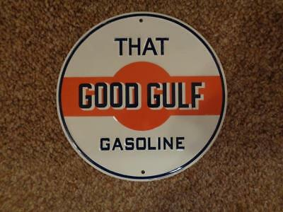 Tin Good Gulf Gasoline Advertising Sign Gas Service Station Display Sign