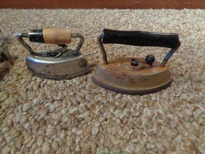 2 Advertising Sad Irons A-Best-O #602 Sandy Andy #22 Miniature Flat Sad Iron
