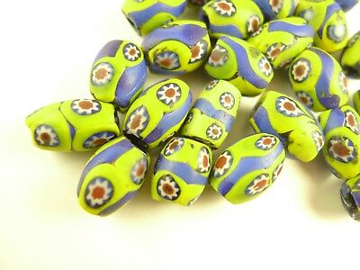 22 pcs banded oval Venetian millefiori tribal glass beads African trade AB-0074