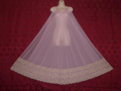 Stunning Vtg Lavender Intime Double Chiffon Lace Nightgown  Sz All Bust To 44""