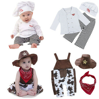 Baby Boy Girl Cook Chef Cowboy Carnival Party Costume Outfit Toddler Fancy Dress