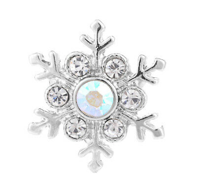 3D Crystal SnowflakeChunk Charm Snap Button Fit For Noosa Necklace/Bracelet  AB