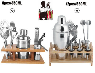 8/12pcs Stainless Steel Cocktail Shaker Mixer Bar Tool Set Martini Maker Pro Kit