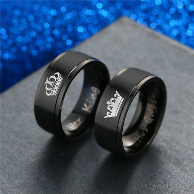 Lovers New Fashion Stainless Steel HIS QUEEN and HER KING Couple Wedding Rings