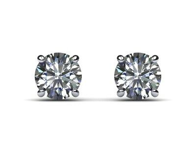 1.5 Carat Real Natural Diamond D VS2 Round Cut Set in 14k White Gold Earrings