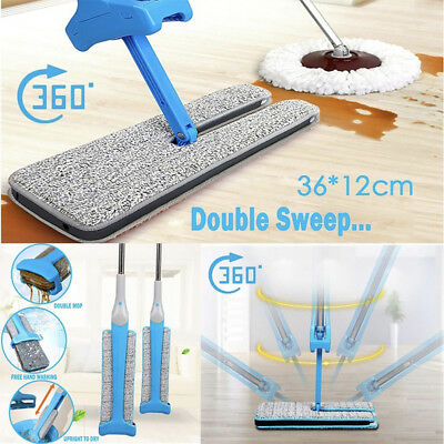 10Pcs Self-Wringing Double Sided Flat Mop Telescopic Cleaning Tool AU STOCK