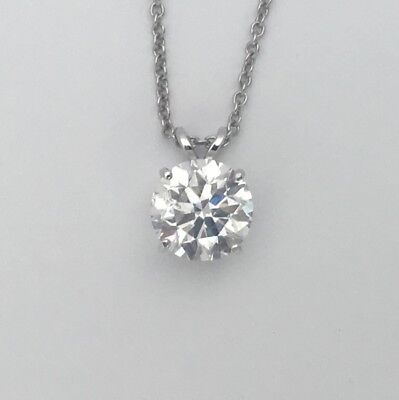 1 CT Carat E VS1 REAL NATURAL DIAMOND SOLITAIRE PENDANT NECKLACE 14K WHITE GOLD