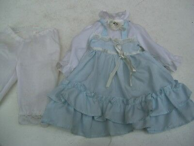 Alte Puppenkleidung Blue White Fine Dress Outfit vintage Doll clothes 38 cm Girl