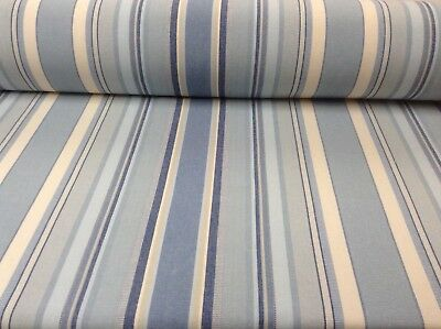 Remake Cloud Blue Striped Woven Cotton Curtain/Craft Fabric
