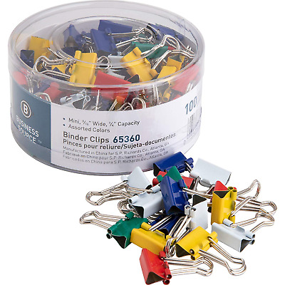 Business Source Mini Binder Clips - Pack of 100 - Mini-Assorted Colors (65360)