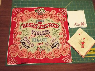 Vintage Lot/3 Valentine's Handkerchiefs Hankies Carl Tait Roses are Red  2 more!
