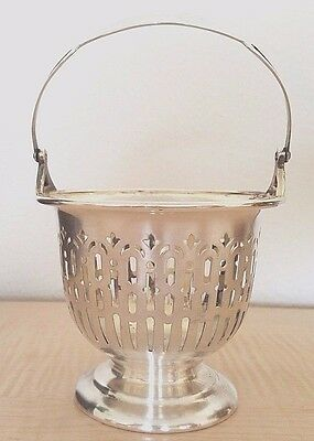 Antique Poole Silver Co Nickel Plated Sheffield Plate Silver Handled Basket