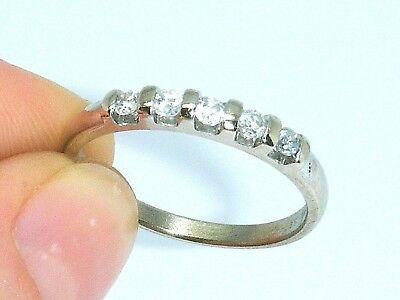 9ct White Gold 9K Gold 0.25ct Diamond Hallmarked Eternity ring size O