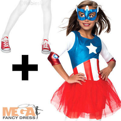 Girls Captain America Superhero Marvel Book Day Week Fancy Dress Costume Outfit