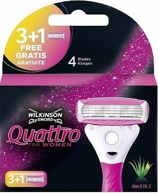 4 Wilkinson Sword Quattro for Women Rasierklingen Aloe Vera + Vitamin E