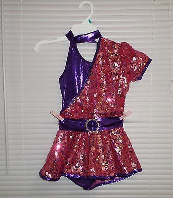 CURTAIN CALL COSTUMES Dance Skating Competition One Sleeve Sequins Shortsuit CM