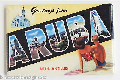 Greetings from Aruba FRIDGE MAGNET (2.5 x 3.5 inches) travel souvenir