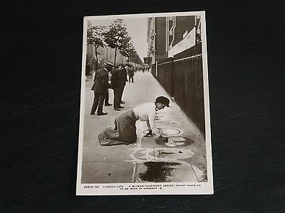Original Rotary London Life Postcard - A Woman Pavement Artist,in Kingsway.
