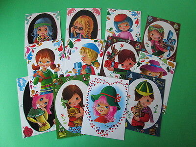 Vintage Lot Of 12 Big Eye Postcards New From The 60's / 70's