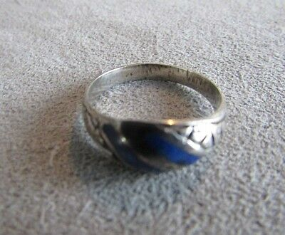 Vintage Sterling Silver Blue Lapis Etched Band Ring Sz 7.5