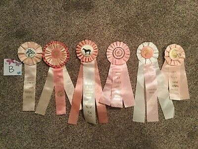 Lot of 6 Vintage Horse Show Ribbons ALL PINK-Girls Birthday Party pack - LOT B