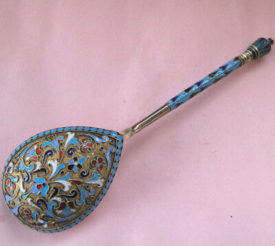 Fine, Lare Imperial Russian Silver Enamel Serving Spoon by Peter Milukov