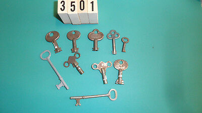 Antique Key Lot 10 Vintage Keys Various Types #3501