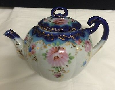 Antique Nippon Cobalt Flow Blue Hand Painted Pink Rose Gold Squatty Mini Teapot