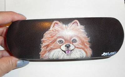Red Pomeranian Dog Hand Painted Eyeglass case faux Leather