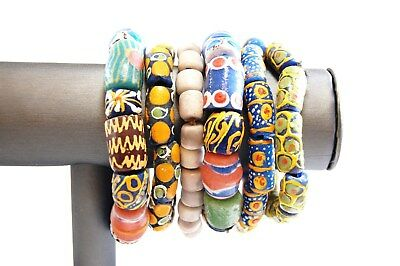 African Paste Glass Hand Painted Artisan Bracelet - Lot of 6 #1621NT