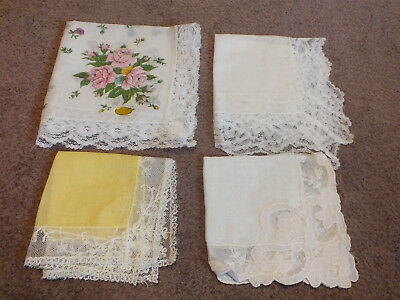 Collectible Ladies Handkerchief Set 4 Wedding Lace White Yellow Handpainted Flor