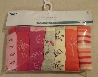 NWT Old Navy Toddler Girls 4T-5T 7-Pack Underwear PINK Patterned COTTON #23418