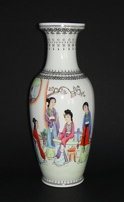 Large Antique Chinese Republic Period Qianlong  Famille Rose Porcelain Vase