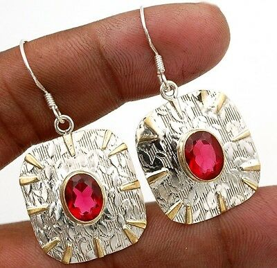 3CT Two Tone Rubellite Tourmaline 925 Sterling Silver Earrings Jewelry 1 1/2""