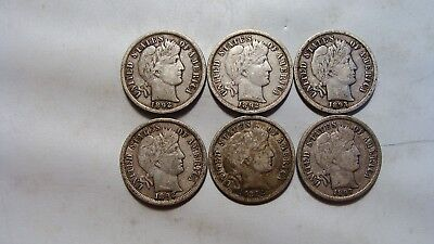 Lot of (6) F+ to VF 1892 & 1893 Barber Dimes
