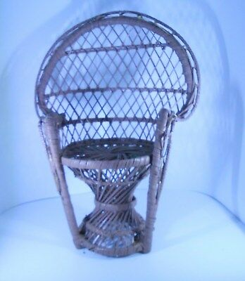 WICKER PEACOCK FAN CHAIR DOLL HOUSE or BEAR FURNITURE PLANT STAND RATTAN 12 inch