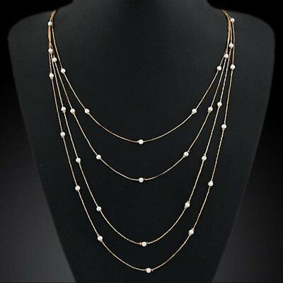 Fashion Jewelry Women Choker Chunky Statement Bib Pearl Pendant Cross Necklace