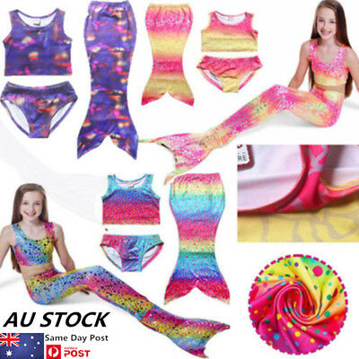 Kids Girls 3PCS Mermaid Tail Bikini Shorts Beach Swimming Swimwear Costume