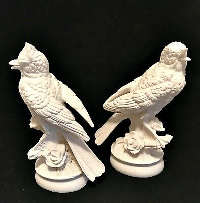 Italian White Bird Figurines on Base 2 Detailed Statues Made in Italy 7.75 inch