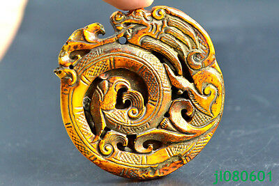 China Collectible gold plain dragon handwork statue good old Pendant